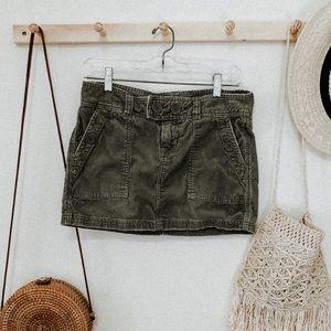 Abercrombie olive green corduroy mini skirt size 4